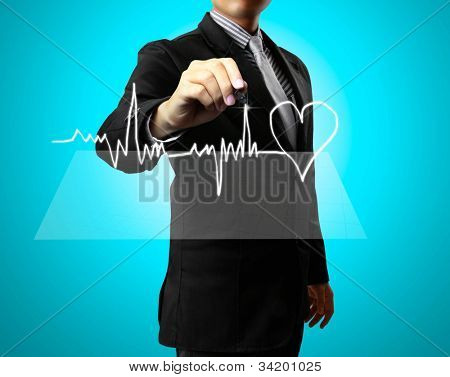 Business man Hand drawing health,heart