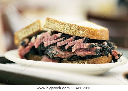 New York City food, Pastrami on rye sandwich served in a diner.