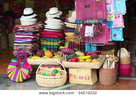 Handicratfs Sold on Inca Market in Lima, Peru