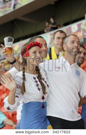 England Fan Between The Ukrainian Fans