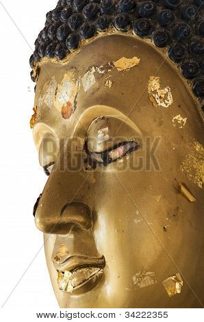 Isolated with Golden face of Buddha