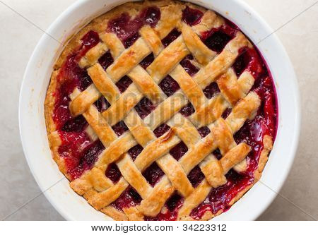 Fresh Homemade Baked Blackberry Pie Closeup View from Top