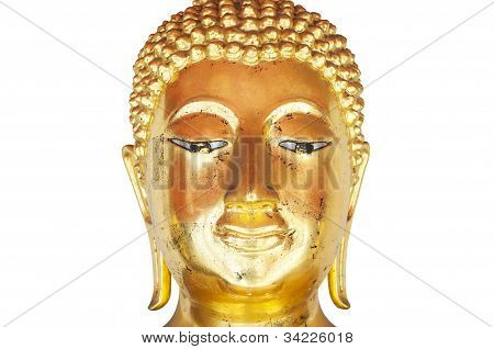 Face of golden budda smile