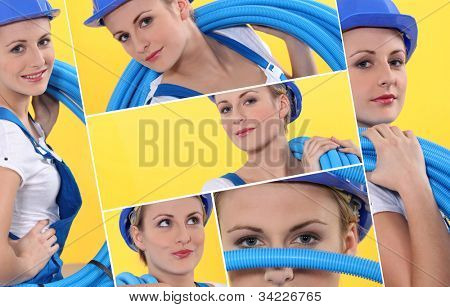 Montage of female plumber