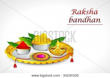 illustration of decorated thali for raksha bandhan