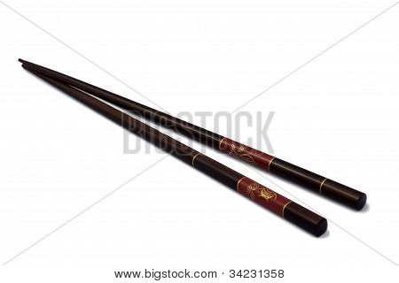 Chinese Chopsticks Isolated In White Background