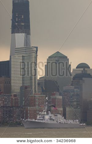 HOBOKEN, NJ - MAY 23: The warship USS Roosevelt (DDG 80) sails on the Hudson River past Manhattan during the Parade of Sail on May 23, 2012 in Hoboken, NJ. The parade is the start of Fleet Week.