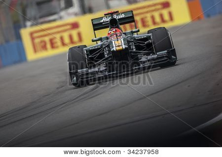 VALENCIA, SPAIN - JUNE 22: Heikki Kovalainen in the Formula 1 Grand Prix of Europe, Valencia Street Circuit. Spain on June 22, 2012