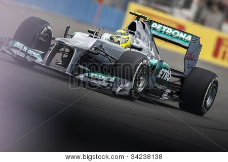 VALENCIA, SPAIN - JUNE 22: Nico Rosberg in the Formula 1 Grand Prix of Europe, in Valencia Street Circuit, Spain on June 22, 2012