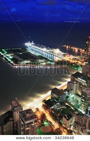 Chicago Navy Pier aerial view with Lake Michigan at dusk.