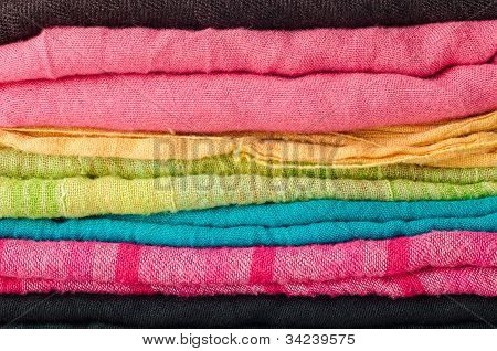 Pile Of Colorful Scarves