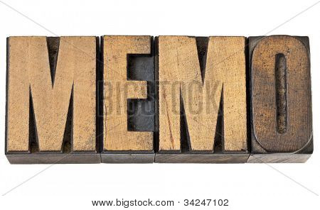 memo (memorandum) - isolated text in vintage letterpress wood type