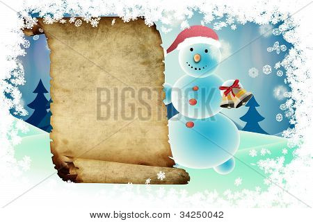 Snowman And Scroll