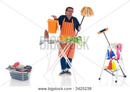 Man Doing Household