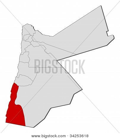 Map Of Jordan, Aqaba Highlighted