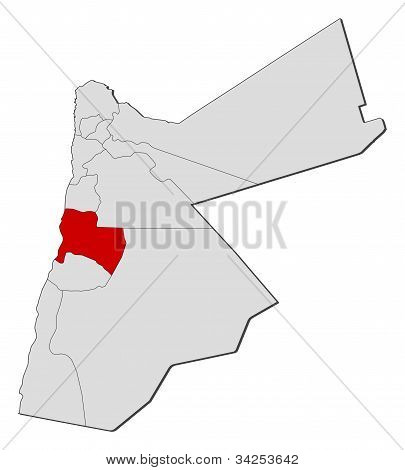 Map Of Jordan, Karak Highlighted