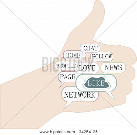 Illustration Of The Thumbs Up Symbol, Which Is Composed Of Text Keywords On Social Media Themes