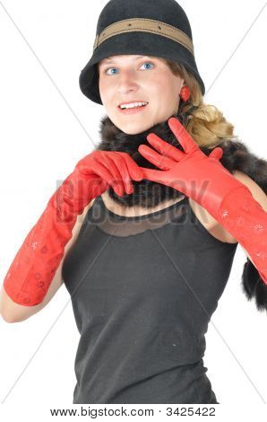Beautiful Young Woman Takes Off The Glove