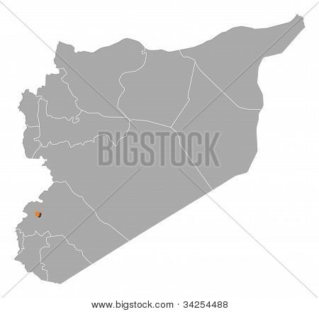 Map Of Syria, Damascus Highlighted