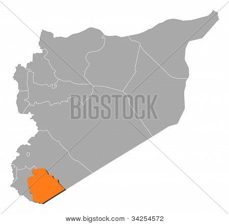 Map Of Syria, As-suwayda Highlighted