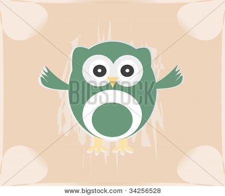 Vector Cute Owl Card / Baby Girl Arrival Announcement Card