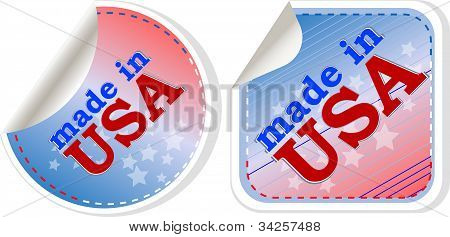 Stickers Label Set - Made In Usa. Vector Illustration