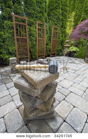 Stack Of Pavers On Backyard Garden Patio