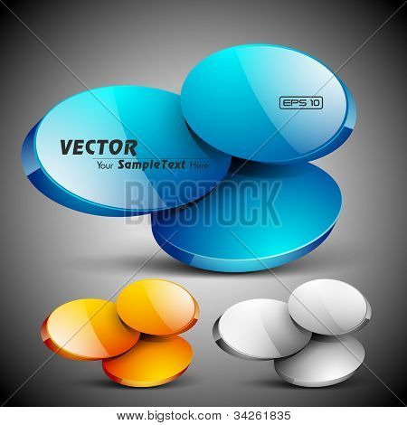 Abstract 3D glossy icon set in yellow, blue and grey color, isolated on grey with text space.EPS 10. can be use as icons, element, banner or background.