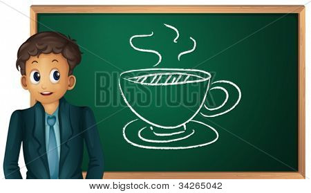 illustration of a man showing cup on board on a white
