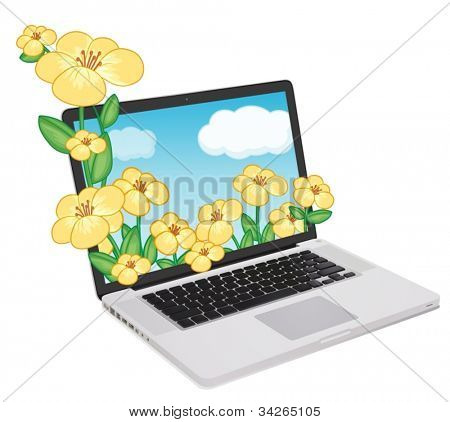 illustration of a laptop and flowers on a white background