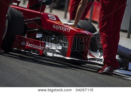 VALENCIA, SPAIN - JUNE 23: Fernando Alonso Car detail in the Formula 1 Grand Prix of Europe, Valencia Street Circuit. Spain on June 23, 2012