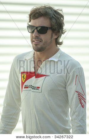 VALENCIA, SPAIN - JUNE 23: Fernando Alonso in the Formula 1 Grand Prix of Europe, Valencia Street Circuit. Spain on June 23, 2012