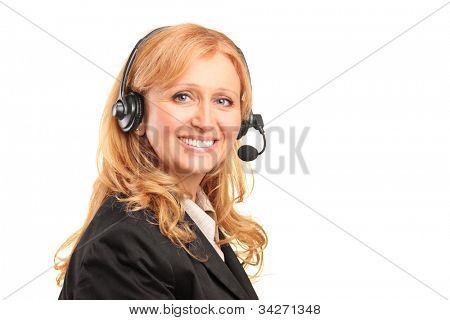 A smiling female customer service operator with a headset isolated against white background
