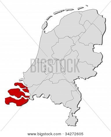 Map Of Netherlands, Zeeland Highlighted