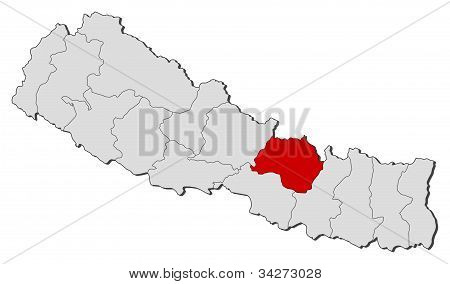 Map Of Nepal, Bagmati Highlighted