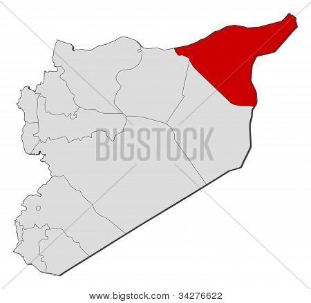 Map Of Syria, Al-hasakah Highlighted