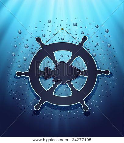 blackboard rudder water blue background raster