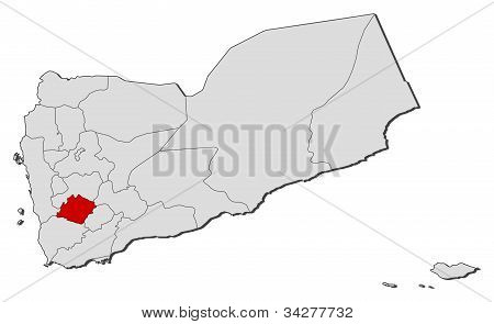 Map Of Yemen, Ibb Highlighted