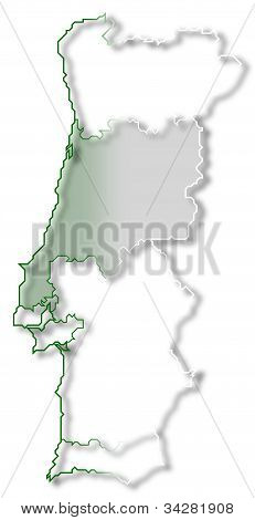 Map Of Portugal, Centro Region Highlighted