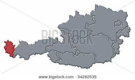 Map Of Austria, Vorarlberg Highlighted