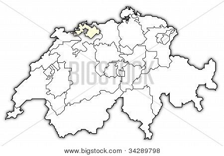 Map Of Swizerland, Basel-landschaft Highlighted