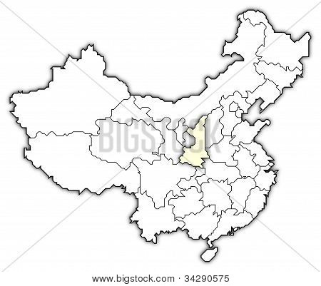 Map Of China, Shaanxi Highlighted