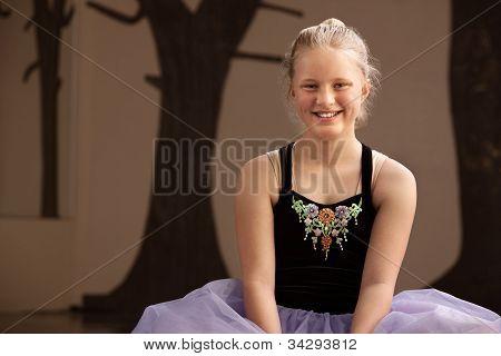 Pretty Ballet Student On Floor