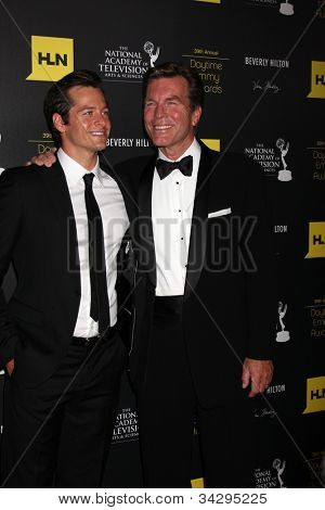 LOS ANGELES - JUN 23:  Blake Hood, Peter Bergman arrives at the 2012 Daytime Emmy Awards at Beverly Hilton Hotel on June 23, 2012 in Beverly Hills, CA