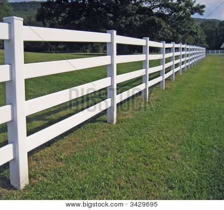 White Fence On A Ranch