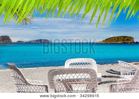 Ibiza Patja des Canar beach with turquoise water in Balearic islands [ photo-illustration]