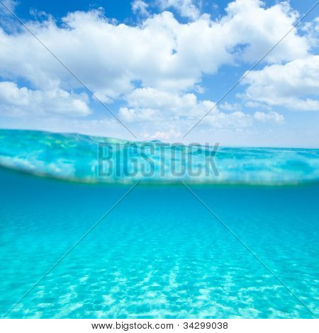 Balearic islands turquoise sea under over in out waterline tropical beach