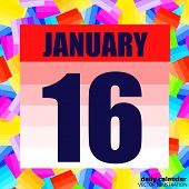 January 16 Icon. For Planning Important Day. Banner For Holidays And Special Days. January Sixteenth poster