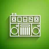 White Line Dj Remote For Playing And Mixing Music Icon Isolated On Green Background. Dj Mixer Comple poster
