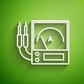 White Line Ampere Meter, Multimeter, Voltmeter Icon Isolated On Green Background. Instruments For Me poster